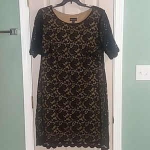 Black and Gold Plus Size Lace Dress